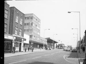 Highways, showing East Street, Barking and new station, looking north-west, 1965