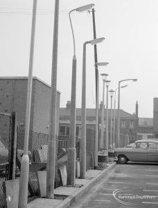 Lighting, showing specially erected sample lamp-posts at Barking, 1966
