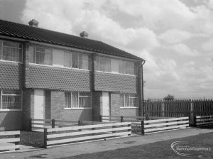 Church Elm Lane showing houses from the view of the old Dagenham tennis courts, 1966