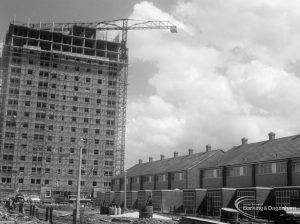 Housing in Church Elm Lane, Dagenham showing Thaxted House and row of houses below, from the south, 1966