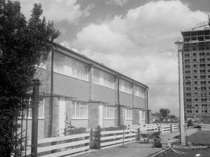 Housing in Church Elm Lane, Dagenham showing houses to west of Thaxted House (shown), facing west, 1966