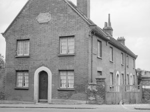 Housing in Church Elm Lane, Dagenham showing Almshouses off Crown Street, Dagenham, view of whole block from road, from south-east, 1966