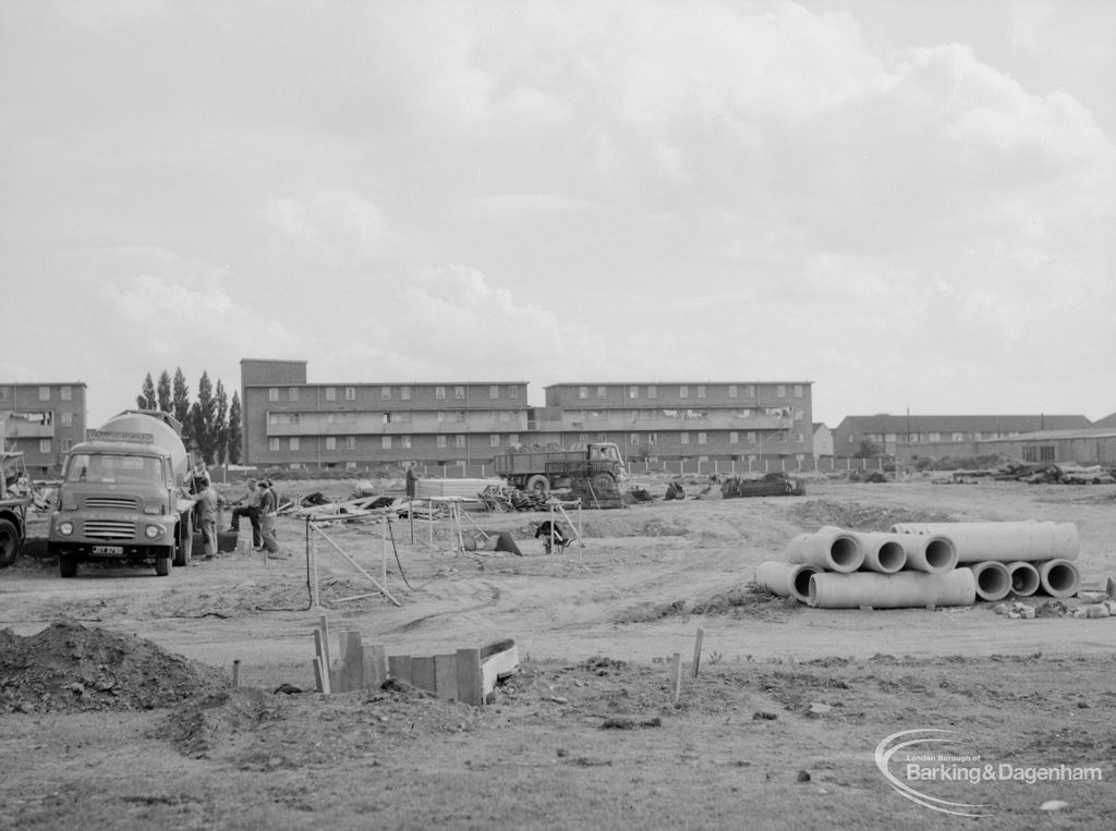 South side of Becontree Heath cleared for new development, showing the south part of site looking east, 1966