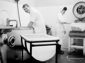 Public Health, showing Butcher and sausage maker in shop in Barking, 1966