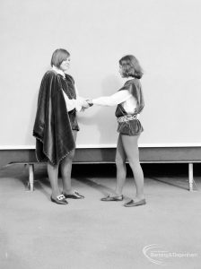 Gearies Girls School, Redbridge, showing two performers in 'As You Like It' school play, 1966