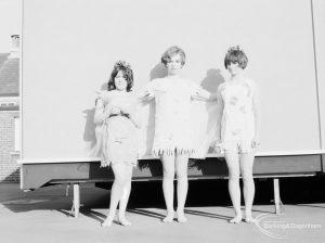 Gearies Girls School, Redbridge, showing three performers in 'As You Like It' school play, 1966