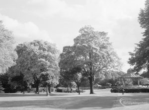 Valentines Park, Ilford, showing trees and bandstand, 1966