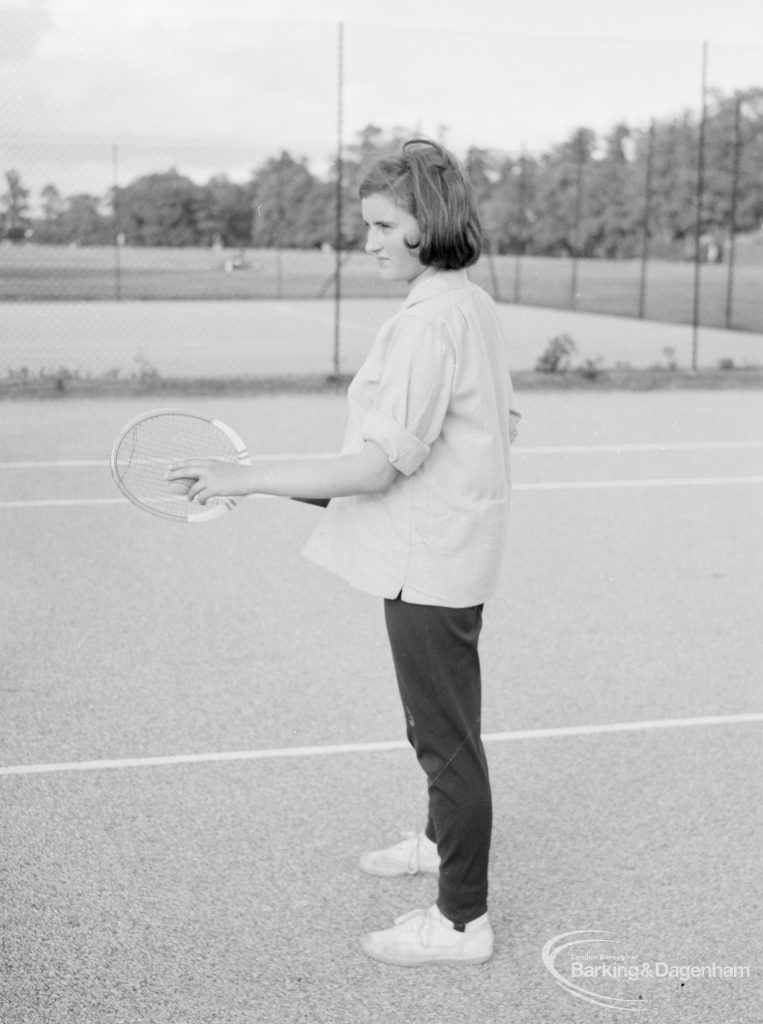 Valentines Park, Ilford, showing tennis player on court, 1966