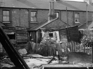 Older housing in Dagenham Village, showing rear of cottages in Crown Street, taken from Exeter Road junction, 1966