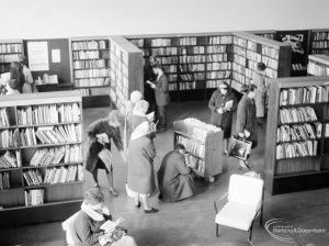 London Borough of Havering Central Library, Romford, showing lending section with library users, looking from above, 1967