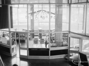 London Borough of Havering Central Library, Romford, showing the junior library, seen through glass screen, 1967