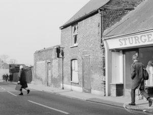 Crown Street, Old Dagenham Village, showing old houses and shop on north side, east end, 1967
