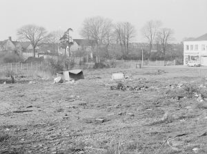 Crown Street, Old Dagenham Village, showing bulldozed clearance on south side, looking north-west, 1967