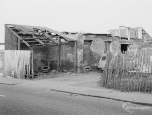 Crown Street, Old Dagenham Village, showing derelict sheds and outbuildings, south-east end, 1967
