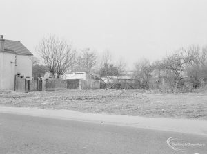 Crown Street, Old Dagenham Village, showing cleared area on north side next to white block, 1967
