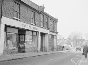 Crown Street, Old Dagenham Village, showing the Co-operative store, still trading, looking west, 1967