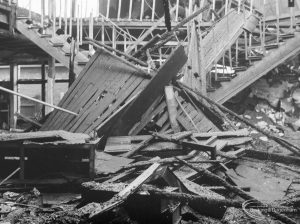 Fire at Barking Central Library, showing collapsed timbers and roofing on ground floor, 1967