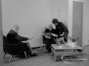 New Riverside Old People's Home for Senior Citizens, Thames View, showing worker and residents in the lounge, 1968