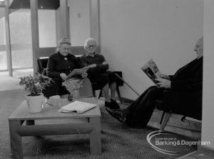 New Riverside Old People's Home for Senior Citizens, Thames View, showing residents in the lounge, 1968