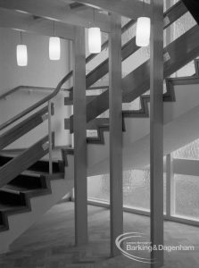 New Riverside Old People's Home for Senior Citizens, Thames View, showing staircase, 1968