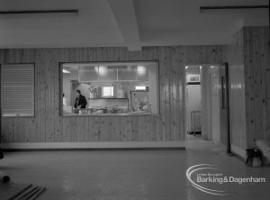 New Riverside Old People's Home for Senior Citizens, Thames View, showing view towards kitchen, 1968