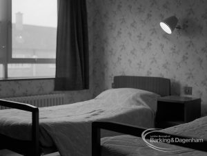 New Riverside Old People's Home for Senior Citizens, Thames View, showing a typical bedroom, 1968