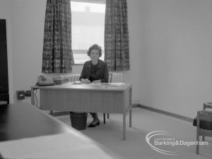 New Riverside Old People's Home for Senior Citizens, Thames View, showing warden seated in office, 1968