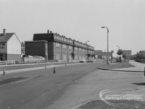Highways, showing Bastable Avenue, Thames View looking east, 1968