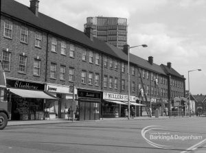 Building development, showing shops and housing in London Road, Barking with Crown House in background, 1968