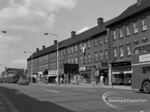 Shops and housing in London Road, Barking, south side, facing east, 1968