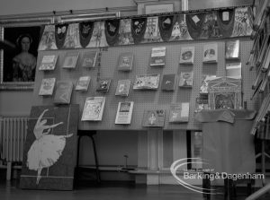 Barking Libraries Children's Book Week at Valence House, Dagenham, showing exhibition of children's books with ballet display, 1969