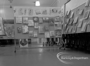 Barking Libraries Children's Book Week at Valence House, Dagenham, showing north-east corner of exhibition of children's books with art display, 1969