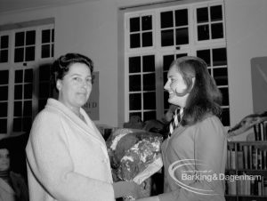 Rectory Library Music Circle twenty-first anniversary, showing Susan Smart presenting bouquet to Mayoress Elect Mrs Rusha, 1969
