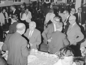 Rectory Library Music Circle twenty-first anniversary, showing Mr Smart talking to Mr Fairchild, and Mr Cannon and Mr Andrews (at right), 1969