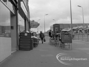 London Borough of Barking Shops Act Inspector, showing furniture obstructing pavement at 274 Heathway, Dagenham, looking south, 1969