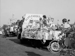 The 'Playleadership Scheme' decorated carnival parade float at the Barking Carnival, 1969