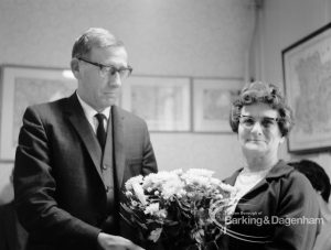 Presentation given by Mr L. Cannon to cleaner Mrs Rempson at Valence House, Dagenham, 1969