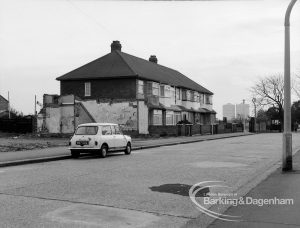 Housing development in Vicarage Road, Dagenham, showing mixed styles and demolition of housing, 1969