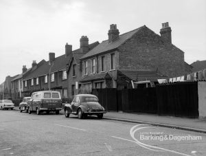 Housing development, showing partly demolished houses on the east side, north and between the 'villas' at the south end of Vicarage Road, Dagenham, 1969