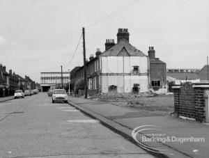 Housing development, showing demolition at the east side of Vicarage Road, Dagenham, 1969