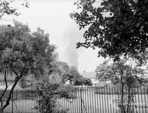 A fire near Dagenham East Station, Dagenham, 1970