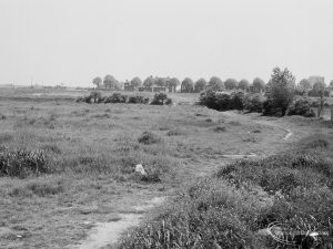 Undeveloped land at The Leys, Dagenham, showing view towards Ford Motor Company Works, 1971
