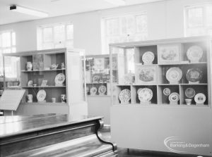 Victoria and Albert exhibition of English transfer-printed pottery and porcelain at Rectory Library, Dagenham, showing general view of exhibition, 1971