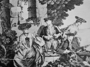 Victoria and Albert exhibition of English transfer-printed pottery and porcelain at Rectory Library, Dagenham, showing close-up of eighteenth century figures on plate, 1971