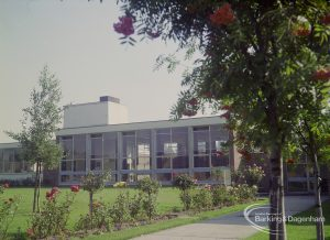 Exterior of John Preston School, Rose Lane, Marks Gate in its grounds with rose garden, looking from west, 1971