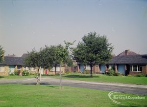 Rose Lane, Marks Gate, with War Memorial bungalows (centre) and meadow, taken from south, 1971