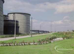 Sewage Works Reconstruction (Riverside Treatment Works) XXII, showing close-up of digesters with flowerbeds in foreground, 1971