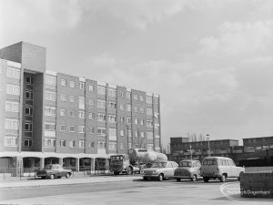Parade of shops and flats at Becontree Heath, taken from Dagenham Swimming Pool from north-west, 1972