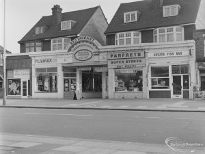 The Silver Scissors, Playbox, Parfrets Super Stores, Arcade Fish Bar and other shops in High Road, Chadwell Heath, opposite Barclays Bank, 1972