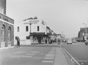 Ashtons Estate Agents in High Road, Chadwell Heath, at junction with Chadwell Heath Lane, taken from west, 1972